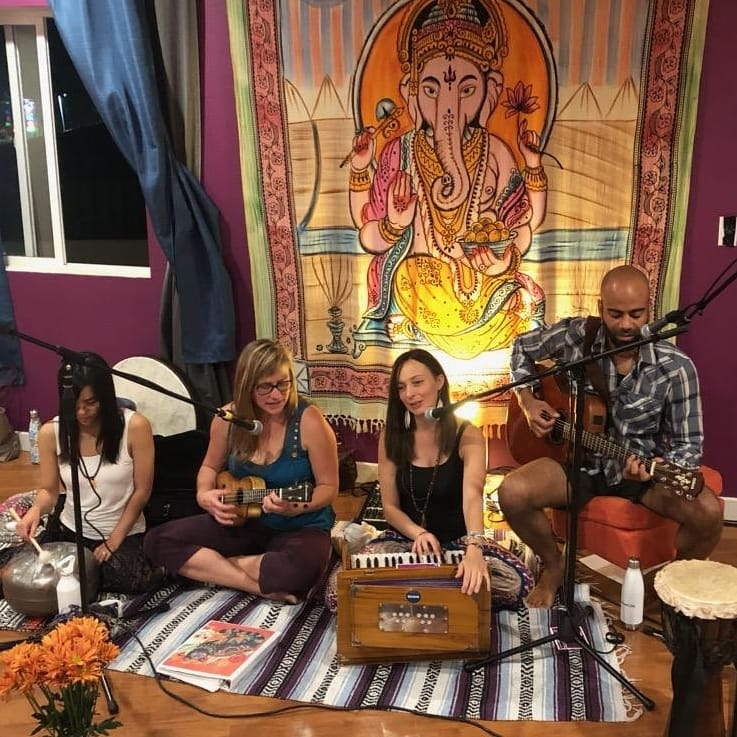 Photo of the Kirtan Musicians playing